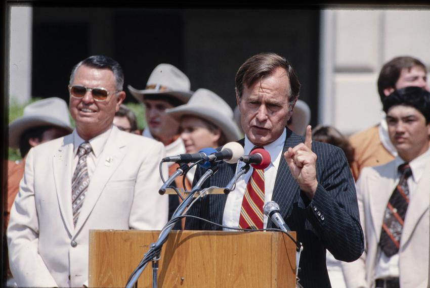 Presidential candidate George H.W. Bush campaigns at the University of Texas at Austin in the fall of 1979.