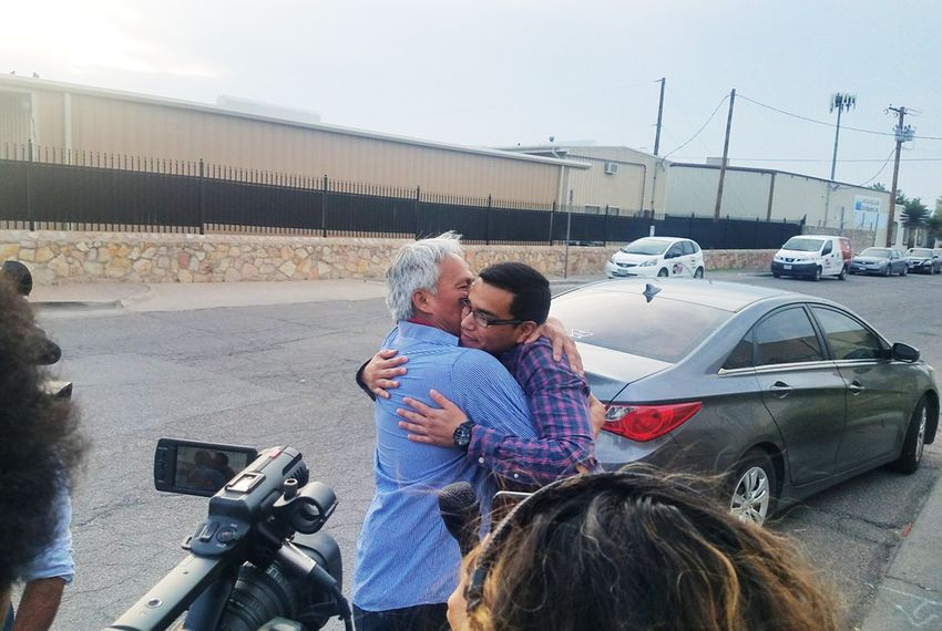 Emilio Gutierrez-Soto and son Oscar reunite after being released on July 26, 2018.