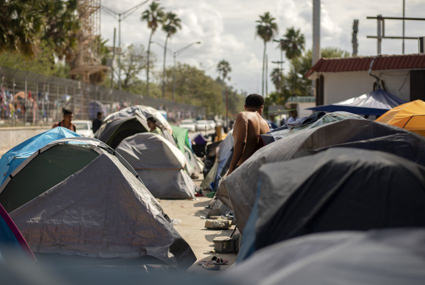 Rows of tents are situated near the entrance of the Gateway International Bridge in Matamoros, Tamaulipas on Oct. 16, 2019. Approximately 2000 migrants have camped near the entrance of the bridge in hopes of obtaining asylum in the United States.