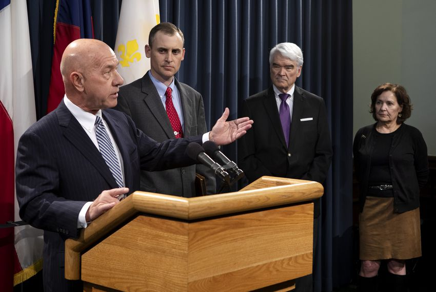 Sen. John Whitmire, D-Houston; Rep. Andrew. Murr, R-Junction; Chief Justice Nathan Hecht; and Presiding Judge of the Court of Criminal Appeals Sharon Keller speak at a press conference to announce legislation aimed at reforming the state's bail system. Bail reform is expected to become a high-profile issue this legislative session.