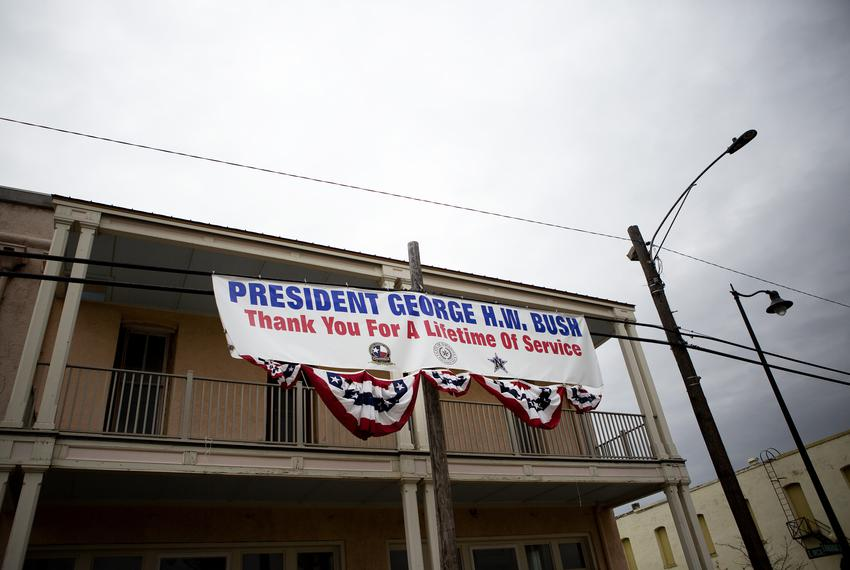 A banner thanking former President George H.W. Bush hung near downtown Navasota. The funeral train carrying the president'...