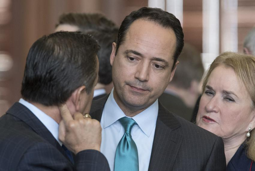 Sen. Jose Menendez, D-San Antonio, reacts after his point of order to kill SB 4 the sanctuary city bill is denied during deb…