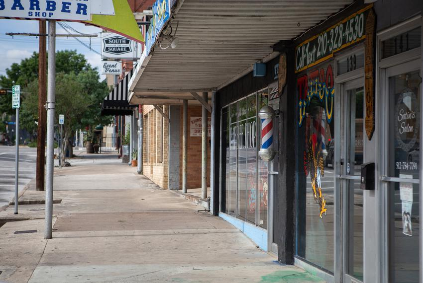 Downtown San Marcos during the COVID-19 pandemic on April 10, 2020.