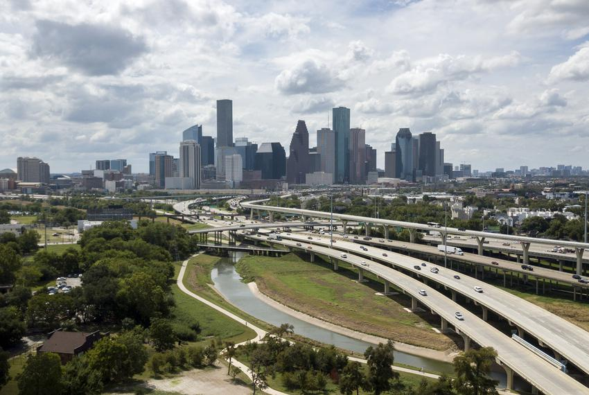 An aerial view of I-45 and Downtown Houston on Sept. 16, 2019.