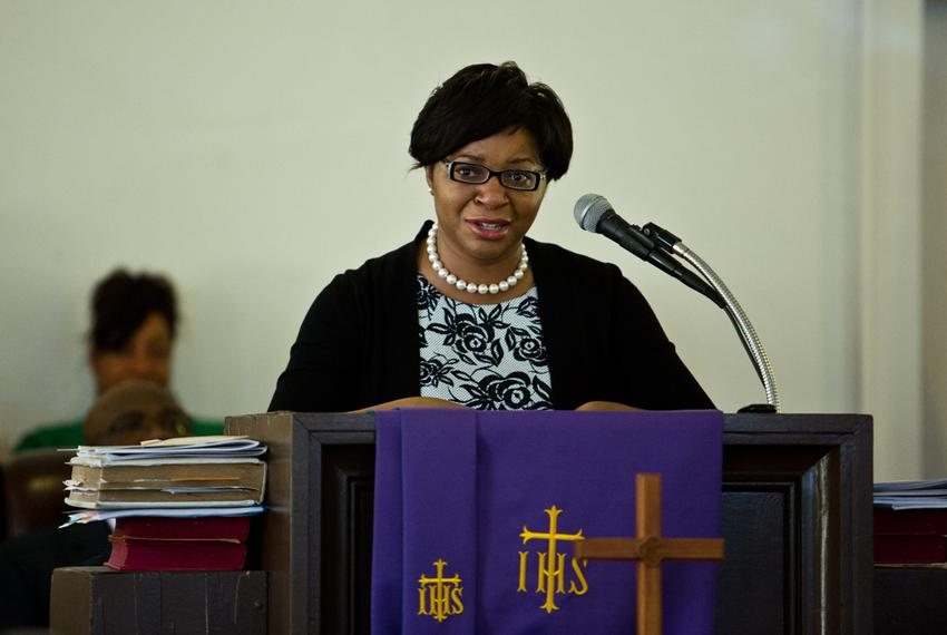 Sharon Cooper speaks at the memorial for her sister, Sandra Bland, at Hope AME Church in Prairie View, Texas, on July 19, ...