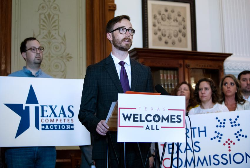 Dave Edmonson, Executive Director of Texas and the Southeast region for TechNet, speaks against discriminatory legislation d…