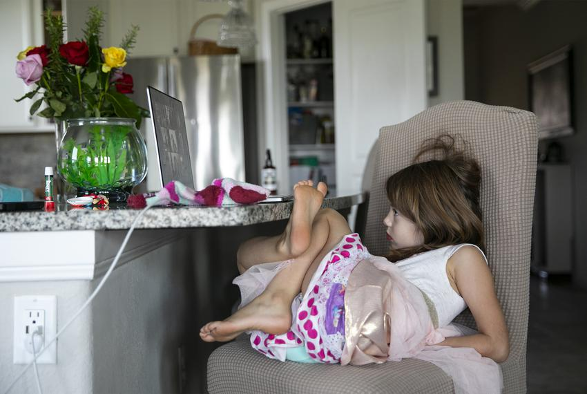 Five-year-old Nora meets with her new kindergarten class virtually in her familyís home in Katy on Monday, Aug. 24, 2020.