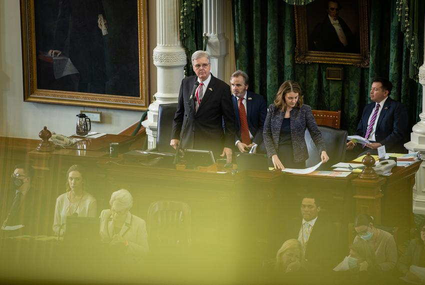 Lt. Gov. Dan Patrick presides over Senate session at the state capitol on May 17, 2021.