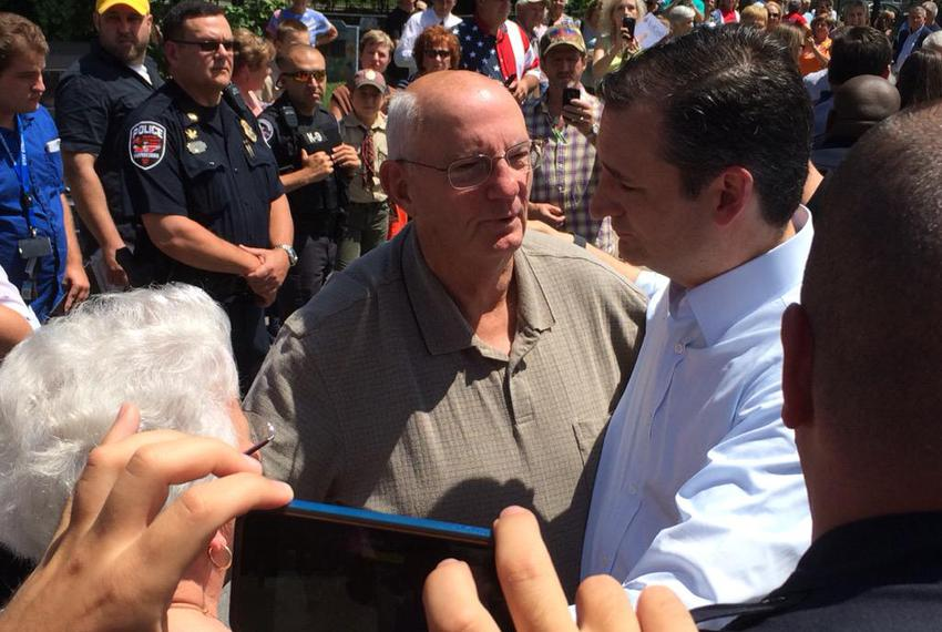 U.S. Sen. Ted Cruz, R-Texas, embraces a pastor who he has known since his childhood during a presidential campaign stop Mond…