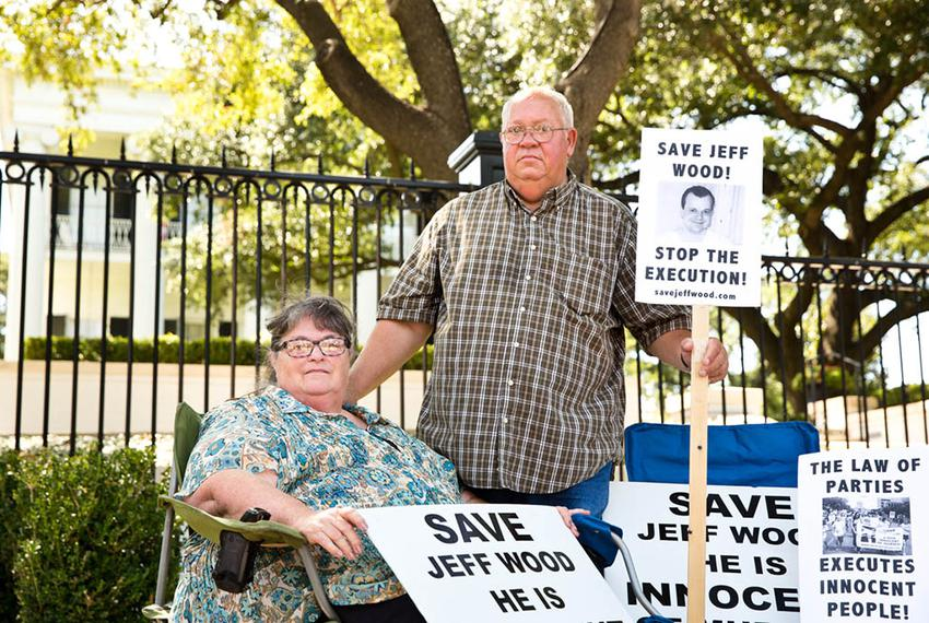 Mitzie and Danny Wood, parents of Jeff Wood, at a rally in July 2016 at the Governor's mansion. Their son, Jeff, was sent to…