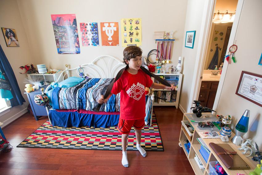 Benjamin Elder, 10, showing his  his bedroom in Friendswood, Texas Tuesday, June 7, 2016.