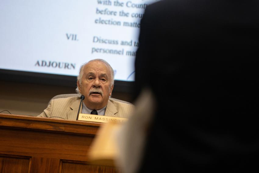 County Judge Ron Massingill speaks during a special meeting of the Hood County Election Commission at the Hood County Justic…
