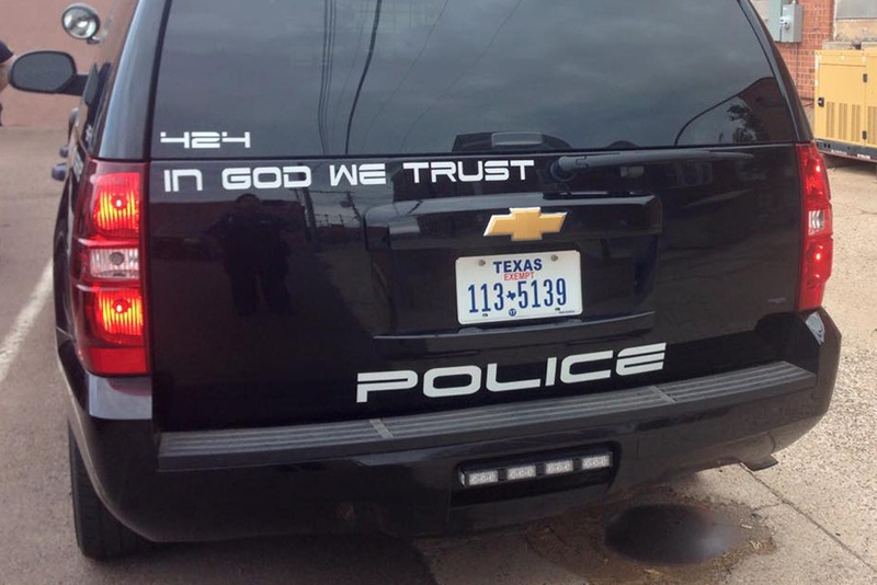 """The Childress Police Department recently began displaying """"In God We Trust"""" on its patrol vehicles."""