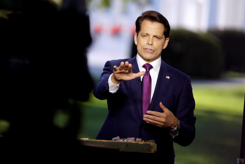 White House Communications Director Anthony Scaramucci speaks during an on air interview at the White House in Washington,...