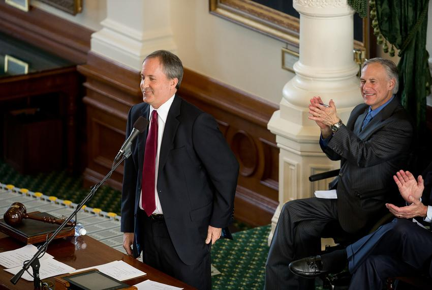 New Texas Attorney General Ken Paxton speaks in the Texas Senate chamber following his swearing-in in early January. Greg Ab…