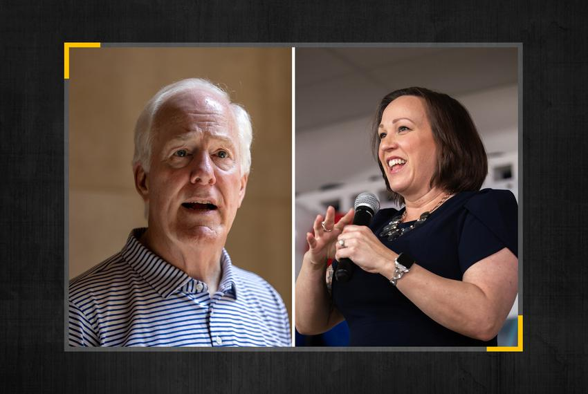 U.S Sen. John Cornyn, R-Texas, and Democratic U.S. Senate candidate MJ Hegar.