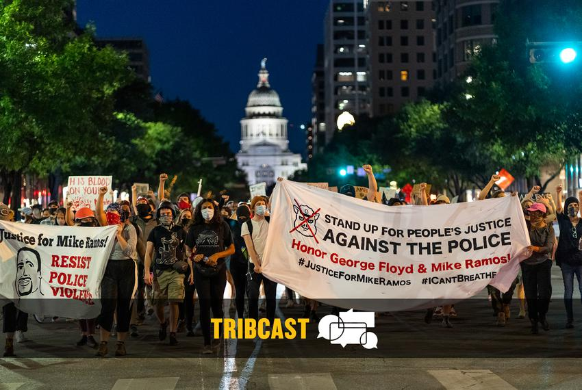 Protesters march in downtown Austin on July 27, 2020.