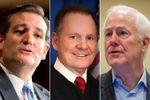 Alabama Senate candidate Roy Moore, center, flanked by U.S. Sens. Ted Cruz (left) and John Cornyn.