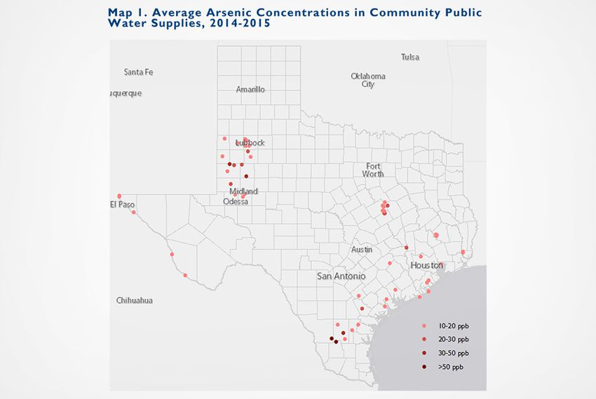 Average Arsenic Concentrations in Community Public Water Supplies 2014-2015. The federal Safe Drinking Water Act requires the nation's public water systems to limit arsenic levels to 10 parts per billion.