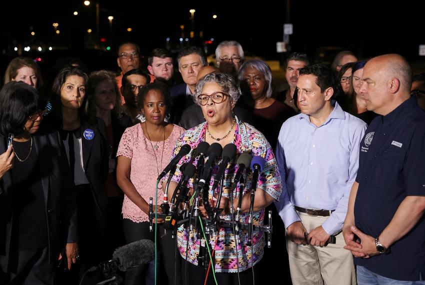 State Rep. Senfronia Thompson, D-Houston, speaks to the press after Democratic members of the Texas House of Representatives…