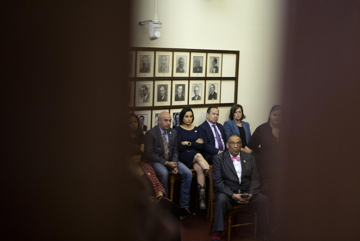Democratic lawmakers met in the Speaker's Committee Room during a break in the session on May 30, 2021.