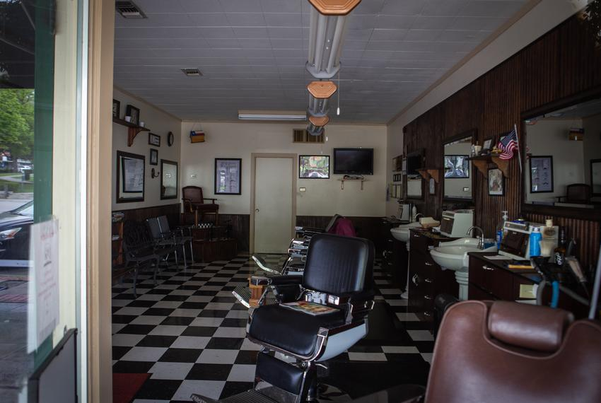 San Marcos Barbershop at The Square in San Marcos on April 10, 2020.