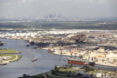 Refinery complexes along the Houston Ship Channel on September 7, 2016.