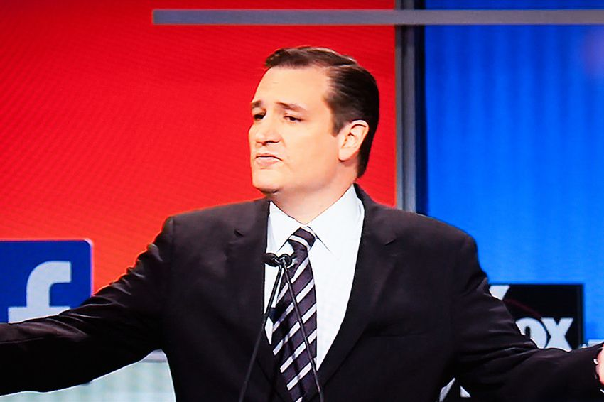 Texas Senator and GOP presidential hopeful Ted Cruz at the GOP debate in Cleveland, Ohio on August 6, 2015.