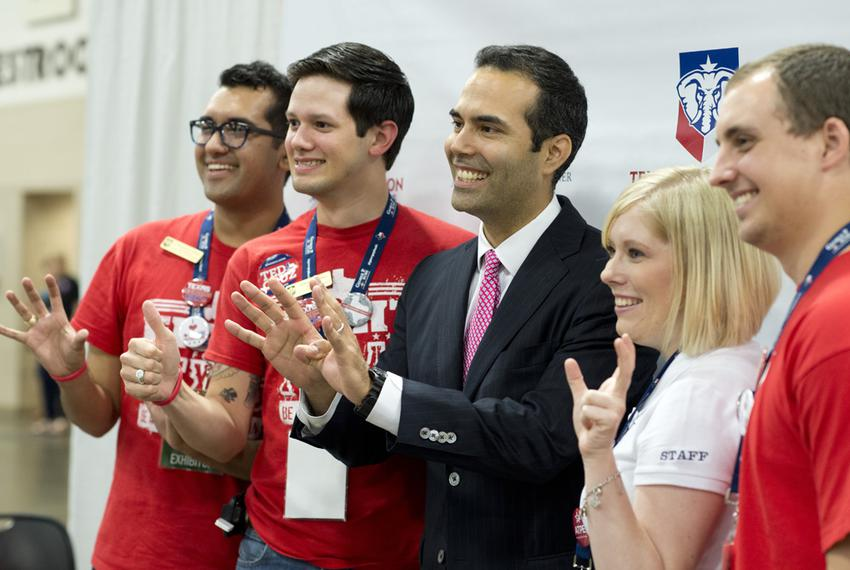 Land Commissioner candidate George P. Bush poses with College Republicans at the State Convention on June 5, 2014.