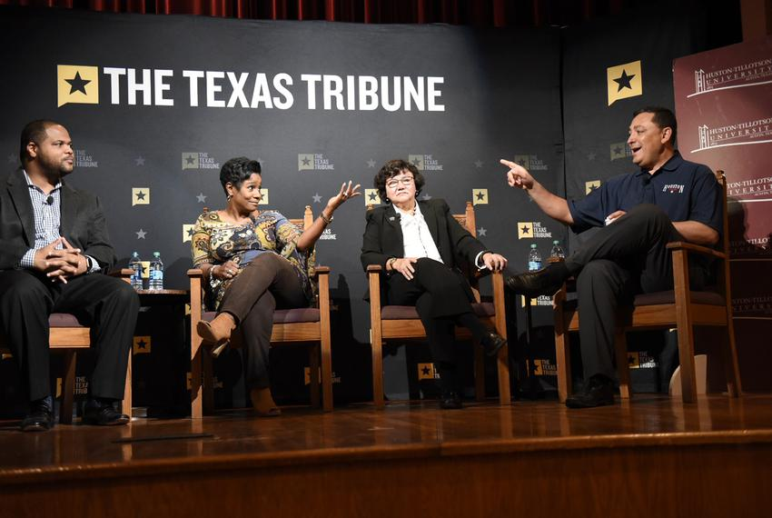 (L-R) State Rep. Eric Johnson, D-Dallas, Jefferson County Sheriff Zena Stephens, Dallas County Sheriff Lupe Valdez and newly…