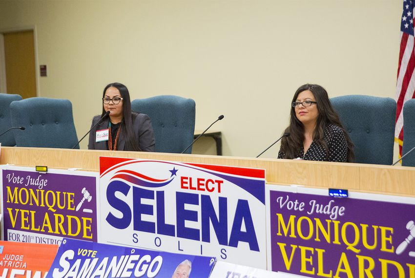 MarySue Femath, left, and state Rep. Mary González, D-Clint, answer questions from moderators during the Tejano Democrats Endorsement Forum at El Paso Community College on Feb. 10, 2018, in El Paso.