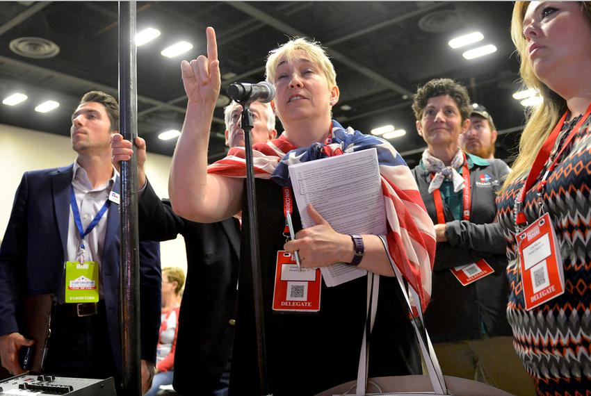 Elizabeth Menes makes a point during a platform debate at the Republican Party of Texas convention in San Antonio on June ...