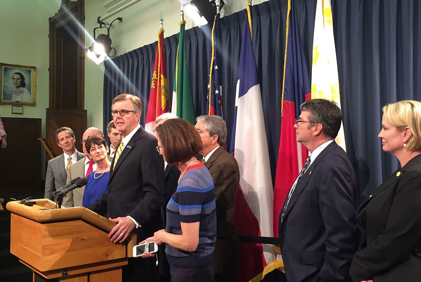 "Lt. Gov. Dan Patrick holds a press conference outside Senate chambers two hours after House Speaker Joe Straus told reporters the House declines to negotiate with the Senate on its proposed compromise on a ""bathroom bill."""