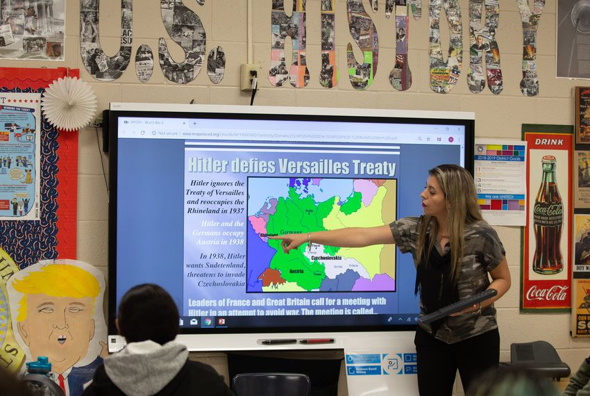 Gaby Mondragon teaches AP U.S. History to a class of juniors at United South High School in Laredo.