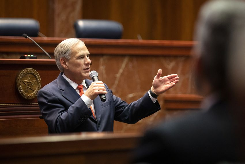 Gov. Greg Abbott delivers a speech at the swearing-in ceremony of Justice Brett Busby on March 20, 2019.