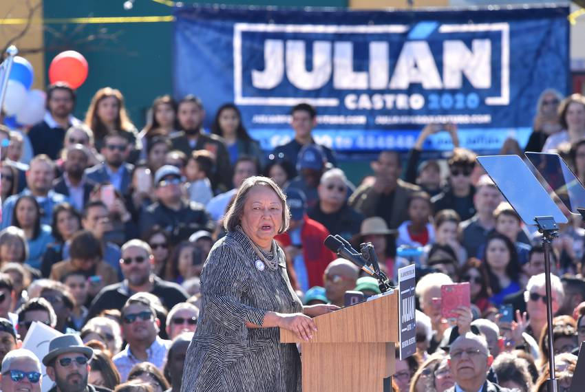 Rosie Castro, San Antonio political activist and mother of Julián and Joaquin Castro,   speaks before introducing her son,...