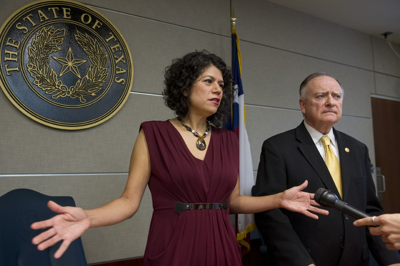 State Reps. Carol Alvarado, D-Houston, and Dan Flynn, R-Canton, explain the House Committee on Transparency in State Agency Operations recommendation of impeachment in the case against Regent Wallace Hall, Jr. on May 12, 2014.