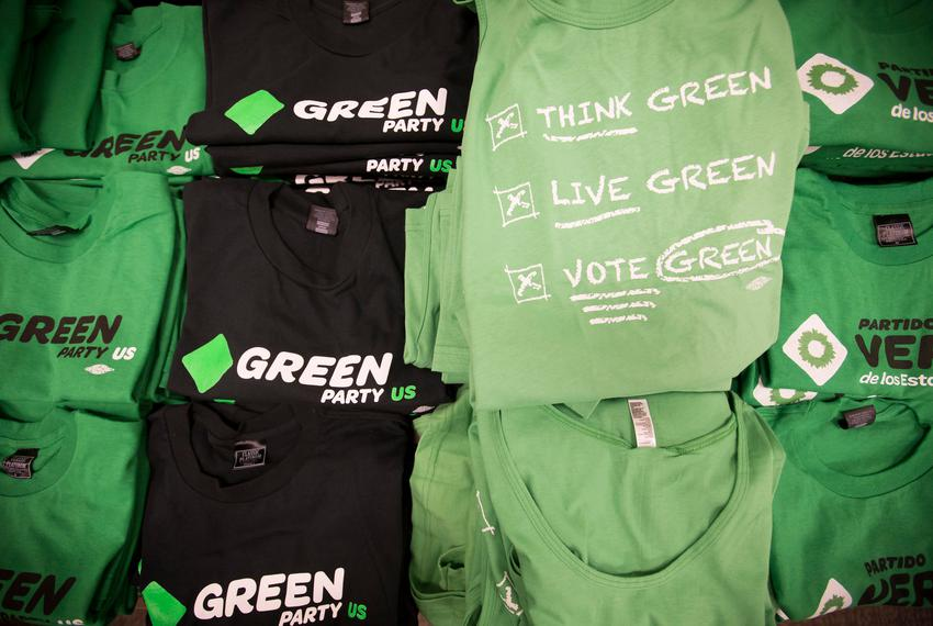 T-Shirts for sale at the Green Party Presidential Convention in Houston on Aug. 5, 2016.