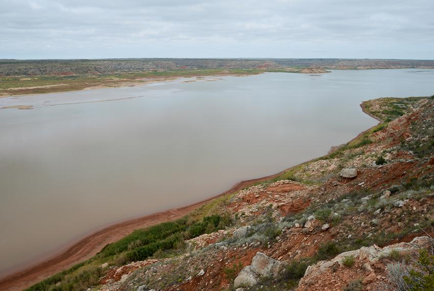 The water level at Lake Meredith near Borger, Texas, has dropped below the lake's intake rendering it useless as a water sou…