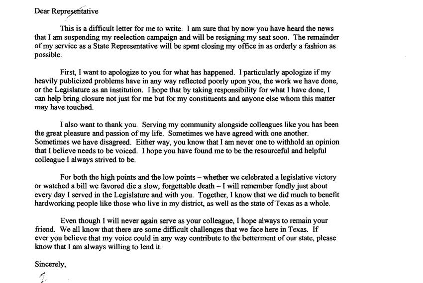 Farewell letter from state Rep. Terri Hodge to House members