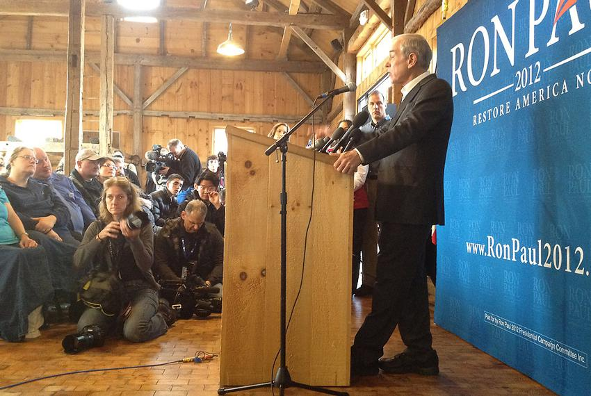 U.S. Rep. Ron Paul speaks at a meet-and-greet event in Hollis, N.H.