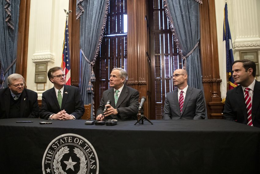 From left: Sen. Paul Bettencourt, R-Houston; Lt. Gov. Dan Patrick; Gov. Greg Abbott; House Speaker Dennis Bonnen, R-Angleton; and Rep. Dustin Burrows, R-Lubbock, speak at a news conference addressing property tax reform.