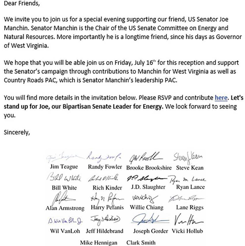 An invitation to a Houston fundraiser for U.S. Sen. Joe Manchin, D-West Virginia, obtained by The Texas Tribune.