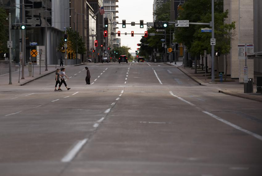 Empty streets in Houston because of the coronavirus pandemic on April 1, 2020.