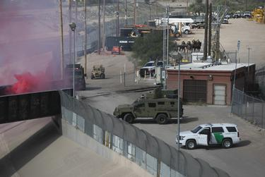 """The Border Patrol participates in """"operational readiness exercises"""" to prepare for the caravan moving through Mexico and heading towards the border, according to a CBP agent, at the Paso del Norte Port of Entry on Friday, November 9, 2018, in El Paso, Texas."""