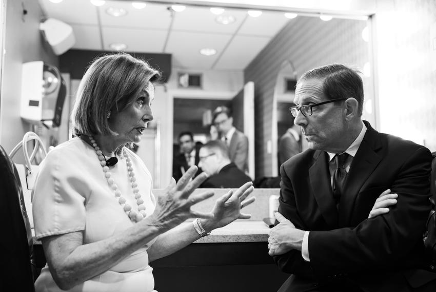 Speaker of the United States House of Representatives, Nancy Pelosi, chats with Texas Tribune CEO Evan Smith during the Texa…