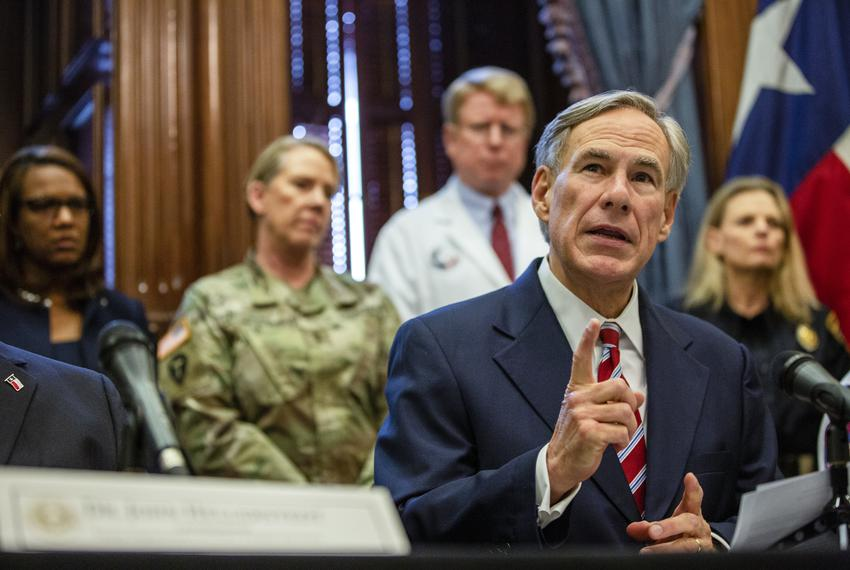 Gov. Greg Abbott declares a statewide emergency amid new cases of COVID-19 in the state on March 13, 2020 at the state capit…