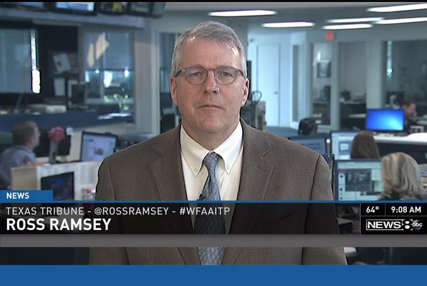 "Texas Tribune Executive Editor Ross Ramsey on WFAA-TV's ""Inside Texas Politics"" on Oct. 26, 2014."