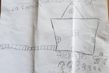 A drawing by Sandy's 8-year-old son, sent to his grandmother, Hilda, while he and his three siblings were detained at a migrant children's shelter.