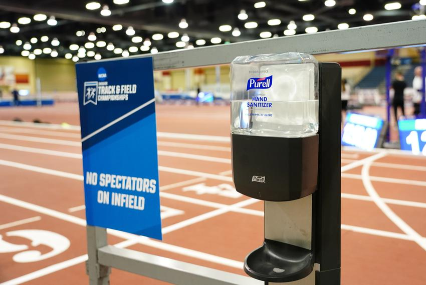 Purell hand sanitizer at the track prior to the NCAA Indoor Championships at Albuquerque Convention Center on Mar 12, 2020...